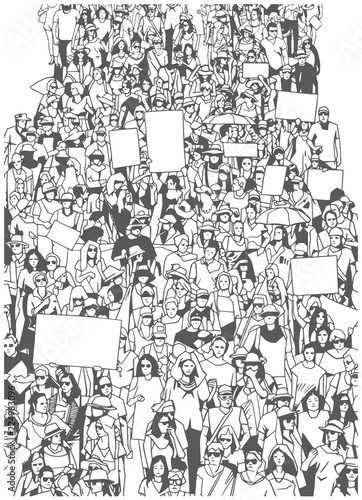 Fényképezés  Illustration of large crowd protest demonstration with blank signs banners