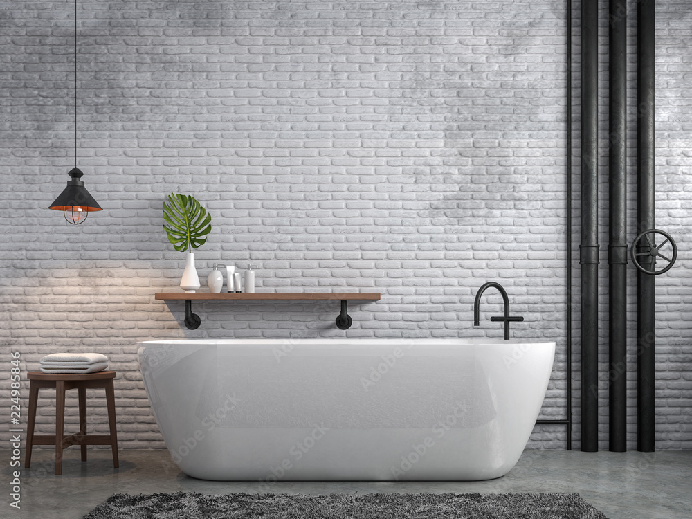 Fototapeta Industrial loft style bathroom 3d render,There are white brick wall and polished concrete floor decorate with black steel tube,Furnished wood furniture.