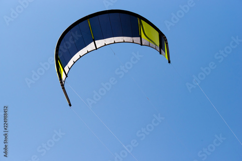 Kite flying in the sky. Kiteboarding kite.