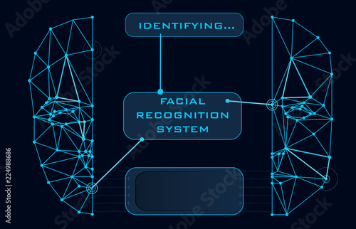 Photo  Face Recognition Biometric Scanning System Concept Abstract Tech background Low
