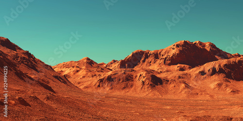 Spoed Foto op Canvas Baksteen Mars landscape, 3d render of imaginary mars planet terrain, science fiction illustration.