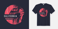 California Santa Monica T-shirt Design With Palm Tree