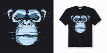 Vector T-shirt And Apparel Design With Glitchy Head Of A Chimp