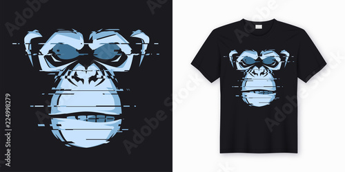 Vector t-shirt and apparel design with glitchy head of a chimp Wallpaper Mural