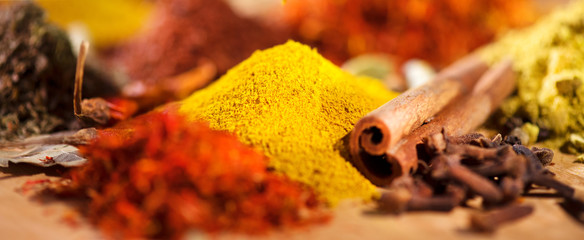 Spice. Various indian spices and herbs colorful background. Assortment of seasonings, condiments