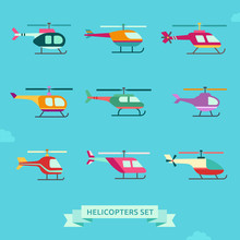 Helicopter Flat Icon Set. Clean And Simple Design.
