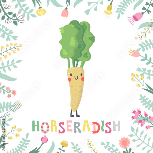 Fotografie, Tablou Cute cartoon horseradish illustration with flowers and lettering.