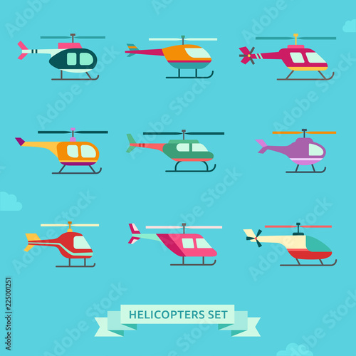 fototapeta na lodówkę Helicopter flat icon set. Clean and simple design.