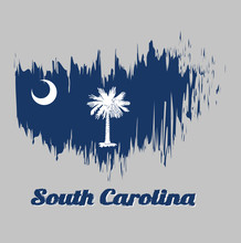Brush Style Color Flag Of South Carolina, White Palmetto Tree On An Indigo Field. The Canton Contains A White Crescent. With Text South Carolina.