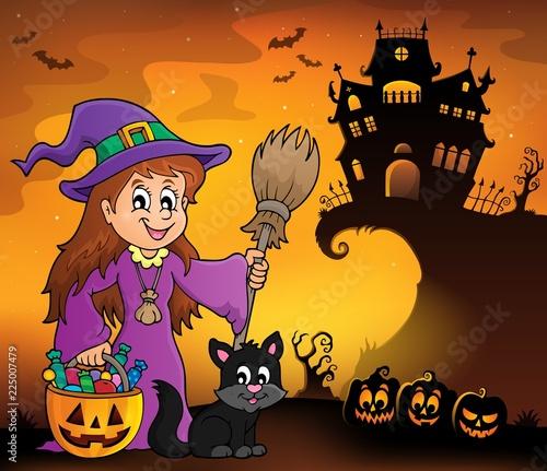 Fotobehang Voor kinderen Cute witch and cat Halloween image 1