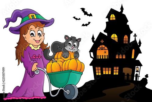 Fotobehang Voor kinderen Cute witch and cat Halloween image 2