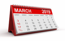 Calendar -  March 2019  (clipping Path Included)