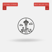 Outline Space Needle Icon Isolated On Grey Background. Line Pictogram. Premium Symbol For Website Design, Mobile Application, Logo, Ui. Editable Stroke. Vector Illustration. Eps10