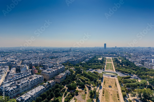 Spoed Foto op Canvas Parijs Monteparnasse tower as seen from second level of eiffel tower