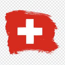 Flag Switzerland, Brush Stroke Background.  Flag Of Switzerland On Transparent Background. Stock Vector.  Flag For Your Web Site Design, Logo, App, UI. Vector Illustration EPS10.