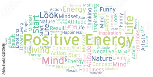 Fotografie, Obraz  Positive Energy word cloud, made with text only.
