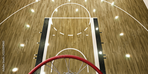 Photo Professional basketball arena with basketball hoop in 3D