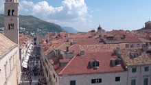 Long Shot Of Stradun Street In Dubrovnik Crowded With Peopl