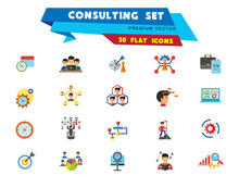 Consulting Icon Set. Changes Adaption Control Monitoring Strategic Management Strategy Focus Workflow Team Cohesion Team Creation Team Development Leader Training Electorate Bar Chart And Magnifier