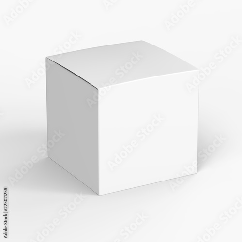 Fotografía  Glossy paper white product box isolated on white background mockup