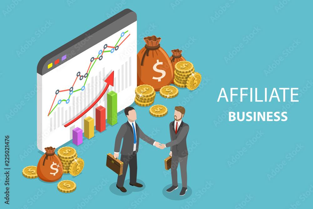 Fototapeta Flat isometric vector concept of affiliate business, marketing strategy, referral program, partnership.