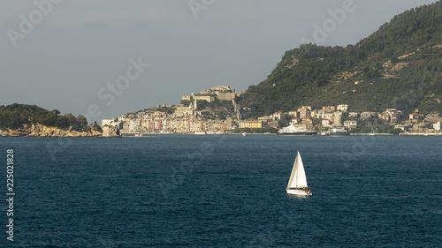 Fotografie, Obraz  Beautiful sailing boat in the Gulf of La Spezia between Lerici and Portovenere,