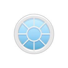 Vector Illustration Of Round Attic Vinyl Wheel Window. Flat Icon Of Traditional Aluminum Circular Window With Radial Bars For Mansard & Garret. Isolated On White Background.