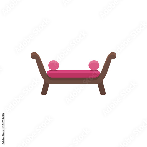 Red Couch With Round Pillows Comfortable Sofa Vector Illustration