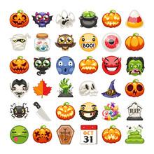 Halloween Emojis Set Flat Vector