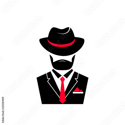 Bearded man in a hat and in a jacket with a tie Fototapet