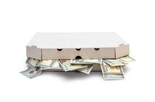 Full Pizza Box Of Dollar Bills Isolated On White.