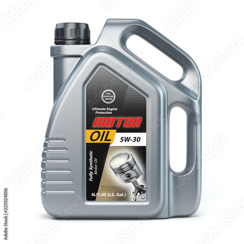 Fototapeta Motor oil canister on white isolated background. obraz