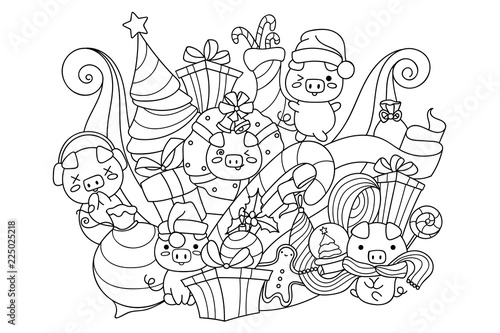 Doodle Art With Cute Pigs And Christmas Decorations Symbol Of