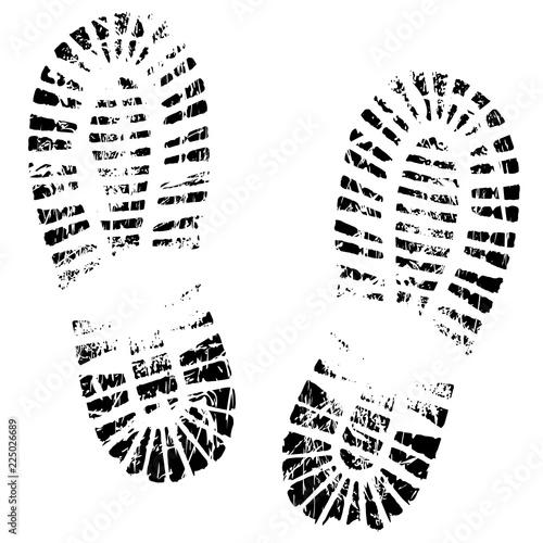 Canvastavla Human feet print, footprints shoe silhouette