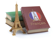 Learn And Studiyng French Concept. Book With  French Flag And Eiffel Tower Isolated On White.