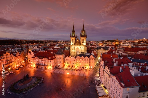 Staande foto Praag Prague old town square and church of Mother of God before Tyn in Prague, Czech Republic.