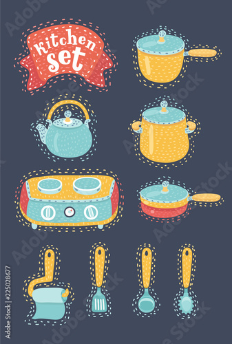 Fotografering  Collection of cookware. Set of kitchenware