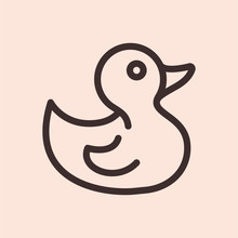 Rubber Duck Minimalistic Flat Line Circle Solid Stroke Icon Pictogram Symbol