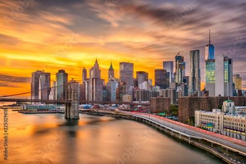 Foto op Canvas Brooklyn Bridge New York City Skyline