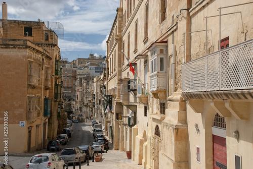 Narrow streets and buildings in Valletta, Malta