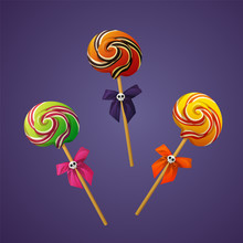 Set Of Halloween Lollipops With Ribbon And Skull Vector On Violet Background.