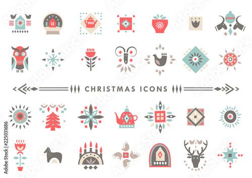 Obraz na plátně Vector set of colorful Christmas icons in scandinavian flat style