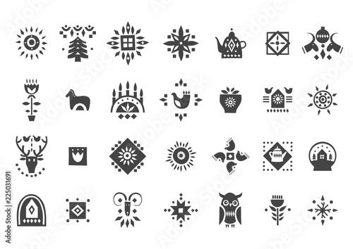 Fotografie, Obraz Vector set of black Christmas icons in scandinavian style.