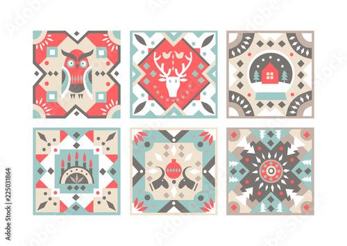 Fototapeta Set of original flat square tiles with folk rustic patterns