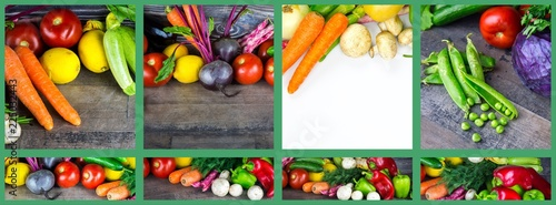 Deurstickers Verse groenten Mix of healthy Organic Vegetable Collage