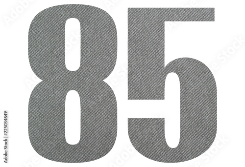 Fotografía  85, eighty five - with gray fabric texture on white background