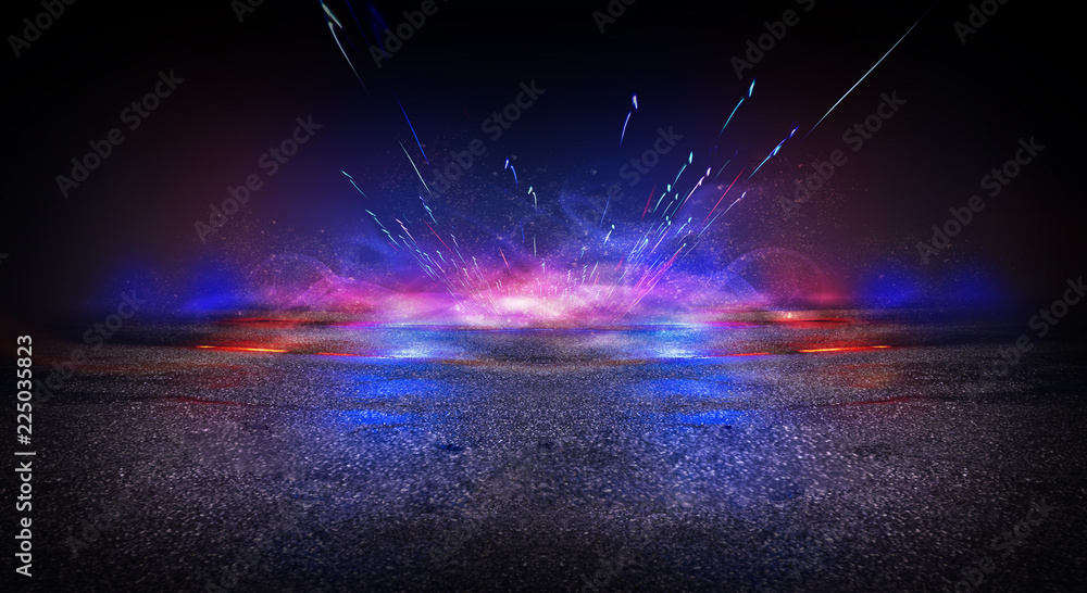 Fototapety, obrazy: Empty scene of a show with lanterns and concrete floor, blue abstract background with bokeh, lights, rays.