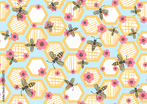 Cotton fabric seamless pattern with bees, honeycombs and flowers