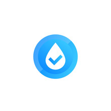 Water Vector Icon With Check Mark
