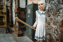 Anime Girl With Baseball Bat In Abandoned Factory